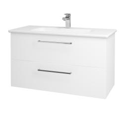 Dřevojas - Koupelnová skříň GIO SZZ2 100 - N01 Bílá lesk / Úchytka T04 / L01 Bílá vysoký lesk (130770E)