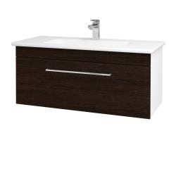 Dřevojas - Koupelnová skříň ASTON SZZ 100 - N01 Bílá lesk / Úchytka T04 / D08 Wenge (131081E)
