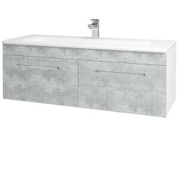 Dřevojas - Koupelnová skříň ASTON SZZ2 120 - N01 Bílá lesk / Úchytka T04 / D01 Beton (131166E)