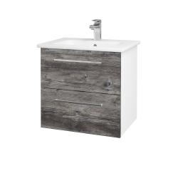 Dřevojas - Koupelnová skříň GIO SZZ2 60 - N01 Bílá lesk / Úchytka T04 / D10 Borovice Jackson (146245E)