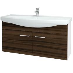 Dřevojas - Koupelnová skříň TAKE IT SZD2 120 - N01 Bílá lesk / Úchytka T04 / D06 Ořech (152338E)