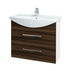 Dřevojas - Koupelnová skříň TAKE IT SZZ2 85 - N01 Bílá lesk / Úchytka T04 / D06 Ořech (153052E)