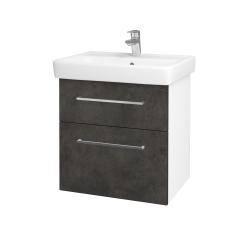 Dřevojas - Koupelnová skříň Q MAX SZZ2 60 - N01 Bílá lesk / Úchytka T04 / D16 Beton tmavý (198183E)
