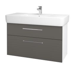 Dřevojas - Koupelnová skříň Q MAX SZZ2 100 - N01 Bílá lesk / Úchytka T04 / N06 Lava (198855E)
