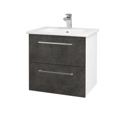 Dřevojas - Koupelnová skříň GIO SZZ2 60 - N01 Bílá lesk / Úchytka T04 / D16 Beton tmavý (202026E)