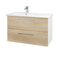 Dřevojas - Koupelnová skříň GIO SZZ2 90 - N01 Bílá lesk / Úchytka T04 / D15 Nebraska (202583E)