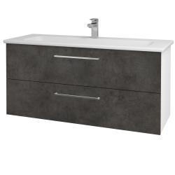 Dřevojas - Koupelnová skříň GIO SZZ2 120 - N01 Bílá lesk / Úchytka T04 / D16 Beton tmavý (202958E)