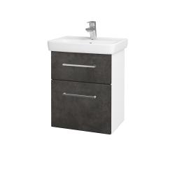 Dřevojas - Koupelnová skříň GO SZZ2 50 - N01 Bílá lesk / Úchytka T04 / D16 Beton tmavý (204501E)