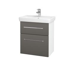 Dřevojas - Koupelnová skříň GO SZZ2 55 - N01 Bílá lesk / Úchytka T04 / N06 Lava (204730E)