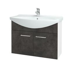 Dřevojas - Koupelnová skříň TAKE IT SZD2 85 - N01 Bílá lesk / Úchytka T04 / D16 Beton tmavý (206222E)