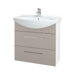 Dřevojas - Koupelnová skříň TAKE IT SZZ2 75 - N01 Bílá lesk / Úchytka T04 / N07 Stone (207700E)