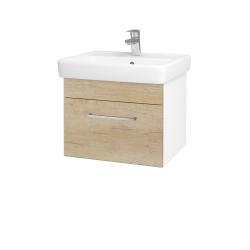 Dřevojas - Koupelnová skříň Q UNO SZZ 55 - N01 Bílá lesk / Úchytka T04 / D15 Nebraska (208318E)