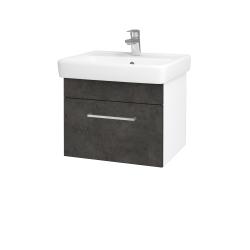 Dřevojas - Koupelnová skříň Q UNO SZZ 55 - N01 Bílá lesk / Úchytka T04 / D16 Beton tmavý (208325E)