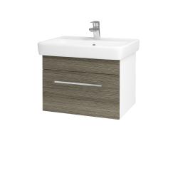 Dřevojas - Koupelnová skříň Q UNO SZZ 60 - N01 Bílá lesk / Úchytka T04 / D03 Cafe (20975E)