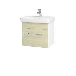 Dřevojas - Koupelnová skříň SOLO SZZ 50 - N01 Bílá lesk / Úchytka T04 / D04 Dub (21842E)