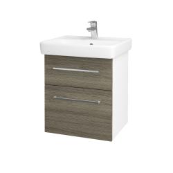Dřevojas - Koupelnová skříň Q MAX SZZ2 55 - N01 Bílá lesk / Úchytka T04 / D03 Cafe (68397E)