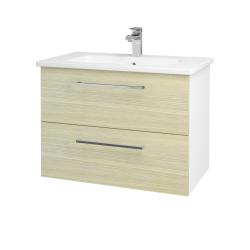 Dřevojas - Koupelnová skříň GIO SZZ2 80 - N01 Bílá lesk / Úchytka T04 / D04 Dub (81938E)