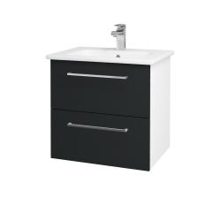 Dřevojas - Koupelnová skříň GIO SZZ2 60 - N01 Bílá lesk / Úchytka T04 / L03 Antracit vysoký lesk (82850E)