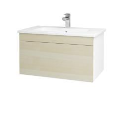 Dřevojas - Koupelnová skříň ASTON SZZ 80 - N01 Bílá lesk / Úchytka T05 / D02 Bříza (130961F)