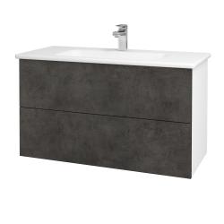 Dřevojas - Koupelnová skříň GIO SZZ2 100 - N01 Bílá lesk / Úchytka T05 / D16 Beton tmavý (202798F)