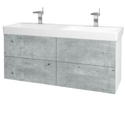 Dřevojas - Koupelnová skříň VARIANTE SZZ4 130 - N01 Bílá lesk / D21 Tobacco (259563)