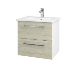 Dřevojas - Koupelnová skříň GIO SZZ2 60 - N01 Bílá lesk / Úchytka T04 / D21 Tobacco (277215E)