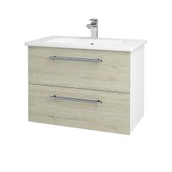 Dřevojas - Koupelnová skříň GIO SZZ2 80 - N01 Bílá lesk / Úchytka T02 / D20 Galaxy (277246B)