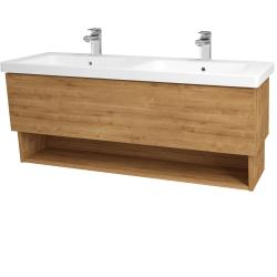 Dřevojas - Koupelnová skříň INVENCE SZZO 125 (dvojumyvadlo Harmonia) - L03 Antracit vysoký lesk / L03 Antracit vysoký lesk (326234)
