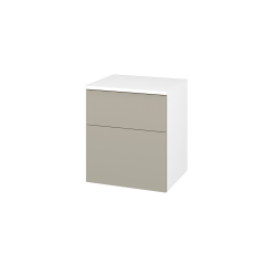 Dřevojas - Skříň spodní DOS SNZ2K  50 - N01 Bílá lesk / Úchytka T05 / L04 Béžová vysoký lesk (116231F)