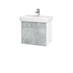Dřevojas - Koupelnová skříň SOLO SZZ 50 - N01 Bílá lesk / Úchytka T05 / D01 Beton (149970F)