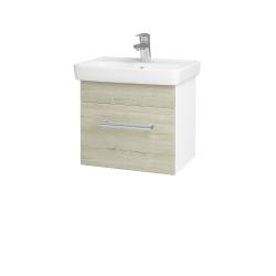 Dřevojas - Koupelnová skříň SOLO SZZ 50 - N01 Bílá lesk / Úchytka T03 / D21 Tobacco (278953C)