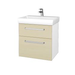 Dřevojas - Koupelnová skříň PROJECT SZZ2 60 - N01 Bílá lesk / Úchytka T01 / D02 Bříza (322595A)