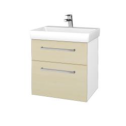 Dřevojas - Koupelnová skříň PROJECT SZZ2 60 - N01 Bílá lesk / Úchytka T04 / D02 Bříza (322595E)