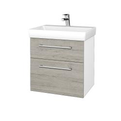 Dřevojas - Koupelnová skříň PROJECT SZZ2 60 - N01 Bílá lesk / Úchytka T03 / D05 Oregon (322625C)
