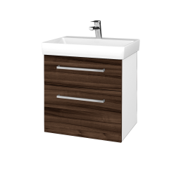 Dřevojas - Koupelnová skříň PROJECT SZZ2 60 - N01 Bílá lesk / Úchytka T04 / D06 Ořech (322632E)