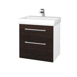 Dřevojas - Koupelnová skříň PROJECT SZZ2 60 - N01 Bílá lesk / Úchytka T03 / D08 Wenge (322649C)