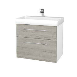 Dřevojas - Koupelnová skříň PROJECT SZZ2 70 - N01 Bílá lesk / Úchytka T02 / D05 Oregon (323080B)