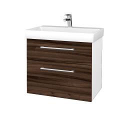 Dřevojas - Koupelnová skříň PROJECT SZZ2 70 - N01 Bílá lesk / Úchytka T03 / D06 Ořech (323097C)