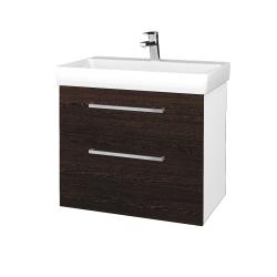 Dřevojas - Koupelnová skříň PROJECT SZZ2 70 - N01 Bílá lesk / Úchytka T04 / D08 Wenge (323103E)
