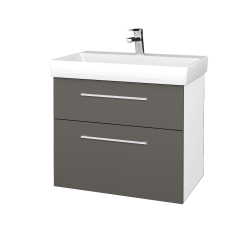 Dřevojas - Koupelnová skříň PROJECT SZZ2 70 - N01 Bílá lesk / Úchytka T03 / N06 Lava (323226C)