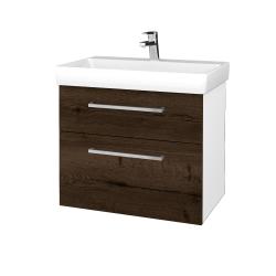 Dřevojas - Koupelnová skříň PROJECT SZZ2 70 - N01 Bílá lesk / Úchytka T04 / D21 Tobacco (323301E)