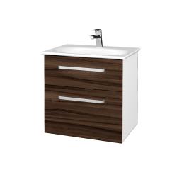 Dřevojas - Koupelnová skříň PROJECT SZZ2 60 - N01 Bílá lesk / Úchytka T01 / D06 Ořech (328443A)