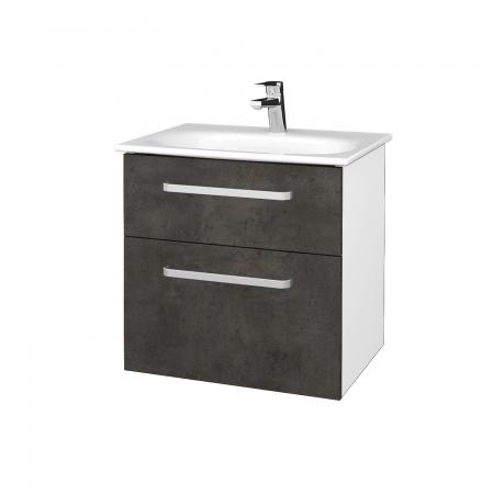 Dřevojas - Koupelnová skříň PROJECT SZZ2 60 - N01 Bílá lesk / Úchytka T01 / D16 Beton tmavý (328498A)