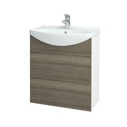 Dřevojas - Koupelnová skříň TAKE IT SZZ2 65 - N01 Bílá lesk / Úchytka T05 / D03 Cafe (152840F)