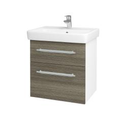 Dřevojas - Koupelnová skříň Q MAX SZZ2 60 - N01 Bílá lesk / Úchytka T02 / D21 Tobacco (275600B)