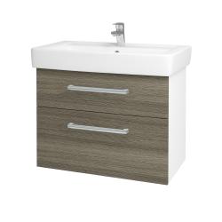 Dřevojas - Koupelnová skříň Q MAX SZZ2 80 - N01 Bílá lesk / Úchytka T03 / D21 Tobacco (275686C)