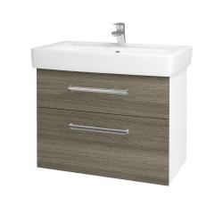 Dřevojas - Koupelnová skříň Q MAX SZZ2 80 - N01 Bílá lesk / Úchytka T04 / D21 Tobacco (275686E)