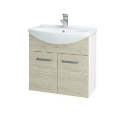 Dřevojas - Koupelnová skříň TAKE IT SZD2 65 - N01 Bílá lesk / Úchytka T05 / D21 Tobacco (279356F)