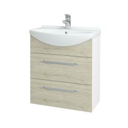 Dřevojas - Koupelnová skříň TAKE IT SZZ2 65 - N01 Bílá lesk / Úchytka T02 / D21 Tobacco (279394B)