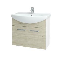 Dřevojas - Koupelnová skříň TAKE IT SZD2 75 - N01 Bílá lesk / Úchytka T03 / D21 Tobacco (279417C)
